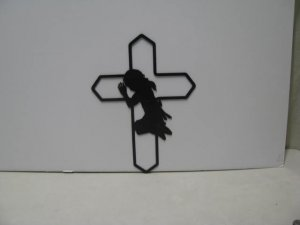 Cowgirl Praying 003 Western Metal Wall Yard Art Silhouette
