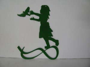 Girl Bird 002 Metal Wall Yard Art Silhouette