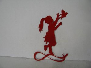 Girl Bird 003 Metal Wall Yard Art Silhouette