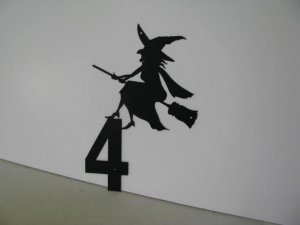 Witch Flying Over Number Metal Wall Art Silhouette