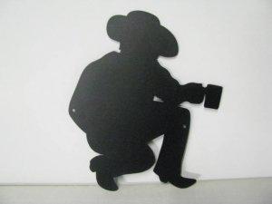 Cowboy Camp Fire 001Metal Art Silhouette