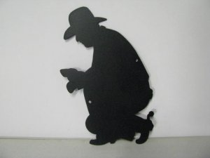 Cowboy Camp Fire 006 Metal Art Silhouette