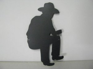 Cowboy Camp Fire 008 Metal Art Silhouette