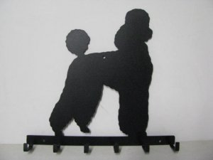 Poodle 011 Silhouette Key/Leash Holder Metal Wall Yard Art