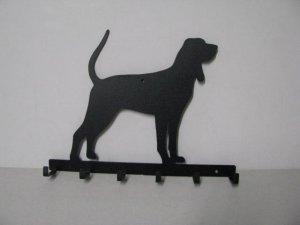 Black and Tan Coonhound Silhouette Key/Leash Holder Metal Wall Yard Art
