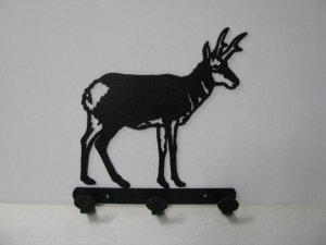 Antelope Standing 003 Hook Coat Rack Metal Wildlife Silhouette