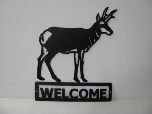 Antelope Standing Welcome Sign Metal Wildlife Silhouette