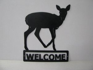Deer 064 Standing Welcome Sign Metal Art