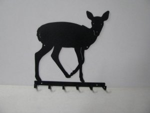 Deer 064 Standing 6 Hook Key Holder Wall Silhouette
