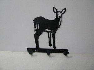 Deer 065 Standing 3 Hook Coat Rack Wildlife Metal Art