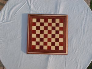 Handmade, hard wood chessboard--padauk, maple, bubinga