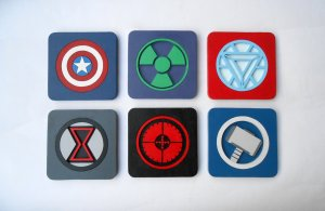 Handmade Avengers coasters, Set of 6