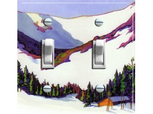 "TUCKERMAN""S RAVINE Vintage Ski Poster Light Switch Plate (double)"