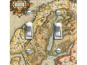NORWAY & SWEDEN Vintage Map Switch Plate (double)