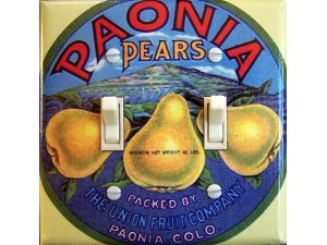 PAONIA PEARS Vintage Crate Label Switch Plate (double)