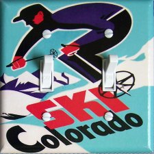 SKI COLORADO Vintage Ski Poster Switch Plate (double)