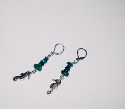Handmade seahorse earrings, seahorse charm, green & blue gemstone chips