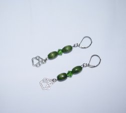 Handmade green earrings, pawprint charm, vintage wood beads and Swarovski crystal
