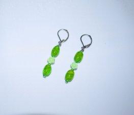 Handmade green earrings, green glass, flower beads
