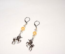 Handmade unicorn earrings, off-white Swarovski crystal bicones, ivory pearl and unicorn charm