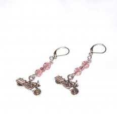 Handmade motorcycle earrings, sparkling purple crystal and seed beads, motorcycle charm