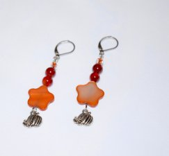 Handmade pumpkin earrings, copper mother of pearl flower, red agate, E bead and pumpkin charm