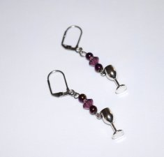 Handmade purple goblet earrings, purple faceted crystal, purple metallic beads, wine goblet charm