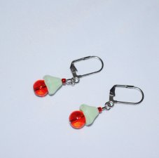 Handmasde red earrings, red glass and pale green pressed glass beads