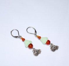 Handmade pumpkin earrings, red agate beads, green pressed glass flower cone, pumpkin charm