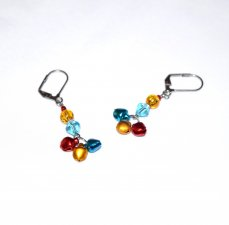 SOLDHandmade jingle bell earrings, red, gold and green bells, blue crystal, gold crackle glass, red seed bead