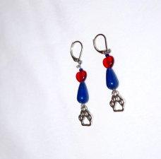 Handmade pawprint earrings, blue resin teardrop, red glass heart, papwprint charm