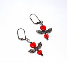 Handmade red earrings, red glass heart beads, angel wings bead, luster black seed beads