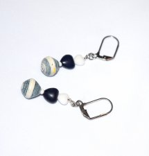 Handmade navy and white earrings, white and navy heart beads, paper bicone bead
