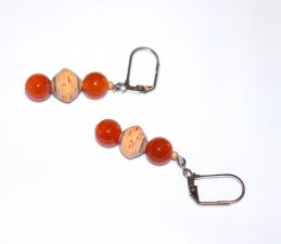 Handmade orange earrings, fire agate beads, tan paper beads