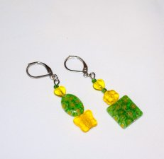 Handmade green and yellow earrings, mismatched crystal and millefiori beads in green and yellow