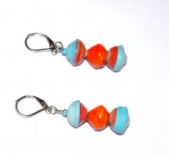 Handmade cyan and orange earrings, cyan blue and orage rolled paper beads