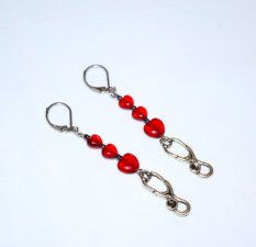 Handmade red earrings with stethoscope charm, 3 ruby red heart beads, black luster seed beads