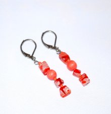 Handmade coral earrings, coral wood  and seed beads, orange and white millefiori beads