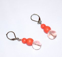 Handmade coral earrings with coral painted wood and pale coral transparent glass bead