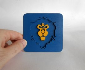 Handmade World of Warcraft Alliance coaster
