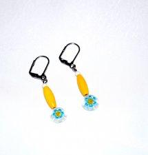 Handmade yellow earrings, yellow wood , cyan and yellow millefiori mismatched flower bead, white glass bead