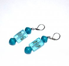 Handmade cyan earrings, rolled paper and translucent blue green beads