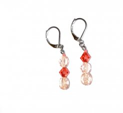 Handmade coral earrings, mismatched with deep coral Czech crystal and pale coral vintage glass beads