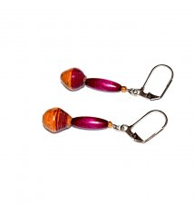 Handmade purple earrings, purple wood oval tube and mismatched orange-brown paper beads