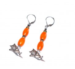 Cat earrings, vintage orange wood and glass beads with humorous cat charm