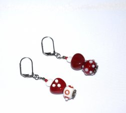 Handmade cranberry and white earrings, mismatched lampworked heart and round beads, white glass heart