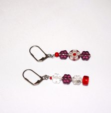 Handmade mismatched earrings in purple and red, Czech glass flower beads, millefiori and red seed beads
