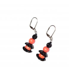 Handmade coral earrings, coral wood beads, black glass beads