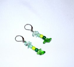 Handmade earrings, glass chips and wood beads in varying green shades