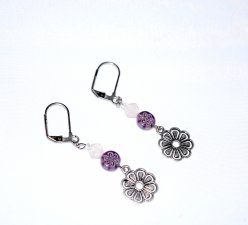 Handmade flower earrings, purple millefiori flower bead, white glass bicone, flower charm